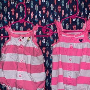Two Carter's 3M Pink&White Striped Outfits